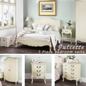 Juliette Shabby chic champagne double bed 5pc bedroom suite. Cream double bed, bedside table, wardrobe, chest of drawers. Fully assembled Juliette Shabby Chic Champagne King bed 5pc bedroom suite FULLY ASSEMBLED 0 300x300