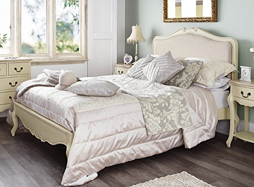 Juliette Shabby Chic Champagne Upholstered Double Bed. 4ft6 French cream bed with upholstered headboard. STUNNING Juliette Shabby Chic Champagne Upholstered Double Bed 0