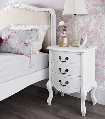 Bedroom Shabby Chic Wallpaper: Shabby Chic Antique White Upholstered 5ft King Bed