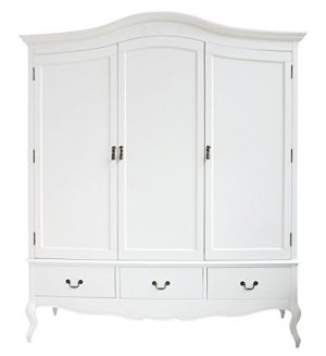 Juliette Shabby Chic White Triple Wardrobe with hanging rails, shelves and deep drawers, Stunning Large 3 door wardrobe Juliette Shabby Chic White Triple Wardrobe with hanging rails shelves and deep drawers Stunning Large 3 door wardrobe 0 300x327