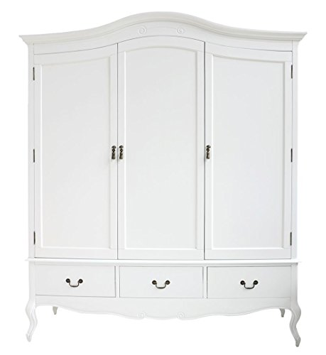 Juliette Shabby Chic White Triple Wardrobe with hanging rails, shelves and deep drawers, Stunning Large 3 door wardrobe Juliette Shabby Chic White Triple Wardrobe with hanging rails shelves and deep drawers Stunning Large 3 door wardrobe 0