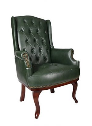 New Queen Anne Fireside High Back Wing Back Leather Chair Chesterfield Armchair Antique Style Green New Queen Anne Fireside High Back Wing Back Leather Chair Chesterfield Armchair Antique Style Green 0 300x413