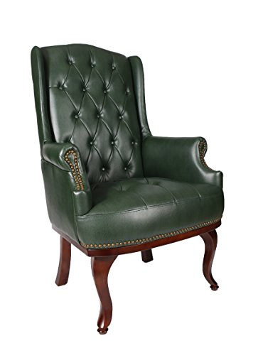 New Queen Anne Fireside High Back Wing Back Leather Chair  : New Queen Anne Fireside High Back Wing Back Leather Chair Chesterfield Armchair Antique Style Green 0 from www.shabbychic-london.co.uk size 363 x 500 jpeg 18kB