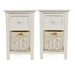 Pair of Shabby Chic White Bedside Units with Wicker Storage Pair of Shabby Chic White Bedside Units with Wicker Storage 0 300x273