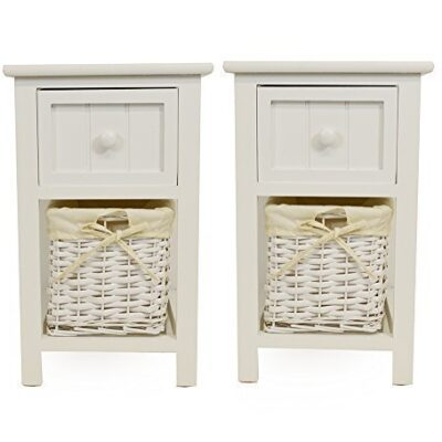 pair of shabby chic white bedside units with wicker storage Pair of Shabby Chic White Bedside Units with Wicker Storage Pair of Shabby Chic White Bedside Units with Wicker Storage 0 400x400