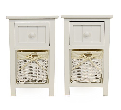 Pair of Shabby Chic White Bedside Units with Wicker Storage Pair of Shabby Chic White Bedside Units with Wicker Storage 0