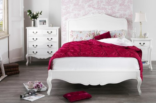 Juliette Shabby Chic White Double bed 5pc bedroom suite, 4ft6 bed, chest of drawers, wardrobe, bedside table, FULLY ASSEMBLED Shabby Chic Antique White Kingsize Bed with wooden headboard 0