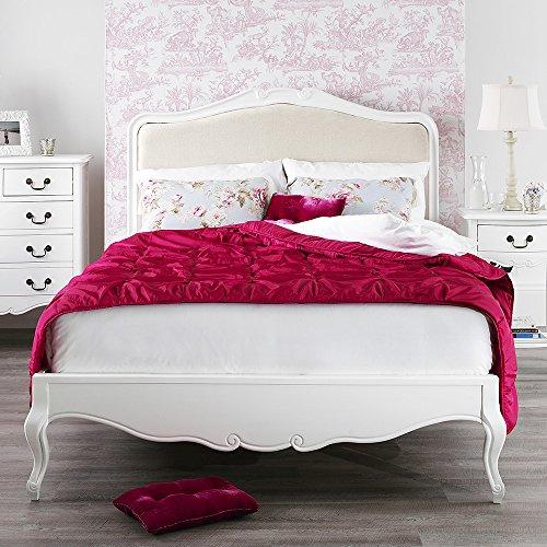 Shabby Chic Antique White Upholstered 5ft King Bed