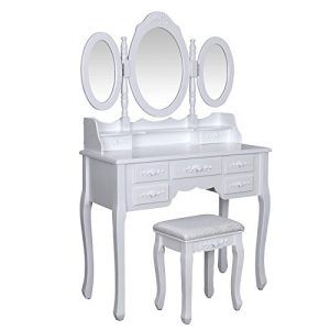 Songmics Wall-Fixed Luxurious 3 mirrors Dressing Table Set with stool, 7 drawers with 2 Dividers Make-up Dresser RDT91W Songmics Luxurious 3 mirrors Dressing Table Set with 7 drawers and 1 free stool 3D floral decorations for bedroom RDT91W 0 300x300