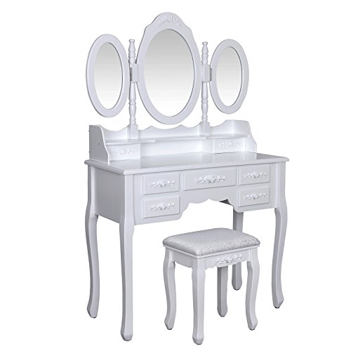 Songmics Wall-Fixed Luxurious 3 mirrors Dressing Table Set with stool, 7 drawers with 2 Dividers Make-up Dresser RDT91W Songmics Luxurious 3 mirrors Dressing Table Set with 7 drawers and 1 free stool 3D floral decorations for bedroom RDT91W 0