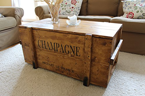 uncle joe s vintage style shabby chic champagne chest wood light brown large 98 x 55 x 46 cm. Black Bedroom Furniture Sets. Home Design Ideas