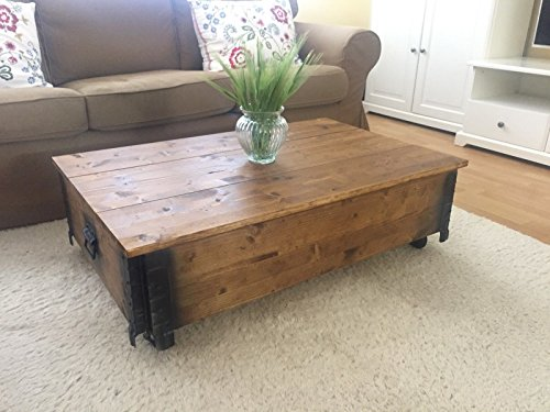 uncle joe s vintage style shabby chic coffee table with cover wood light brown 100 x 65 x 30. Black Bedroom Furniture Sets. Home Design Ideas