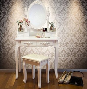 Vienna DR006 White Dressing Table Stool & Mirror Set 5 Drawers Bedroom Dresser Vienna DR006 White Dressing Table Stool Mirror Set 5 Drawers Bedroom Dresser 0 300x307
