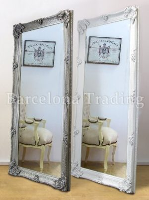 Abbey Large Full Length Shabby Chic Vintage Leaner Mirror In White Or Silver 32″ X 68″ Abbey Large Full Length Shabby Chic Vintage Leaner Mirror In White Or Silver 32 X 68 0 300x402
