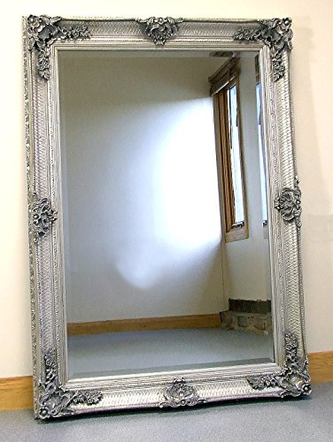 Abbey Large Silver Shabby Chic Antique Style Wall/Over Mantle Mirror – 31in x 43in Abbey Large Silver Shabby Chic Antique Style WallOver Mantle Mirror 31in x 43in 0