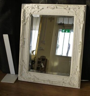 antique white bevelled glass carved wall mirror ~ vintage shabby chic! 53cm x 43cm Antique White Bevelled Glass Carved Wall Mirror ~ Vintage Shabby Chic! 53cm x 43cm Antique Style Shabby Chic White with Gold Brush Bevelled Glass Wall Mirror by Vintage Collection 0 375x400