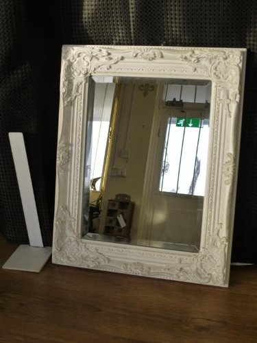 Antique Style Shabby Chic White with Gold Brush Bevelled Glass Wall Mirror by Vintage Collection Antique Style Shabby Chic White with Gold Brush Bevelled Glass Wall Mirror by Vintage Collection 0