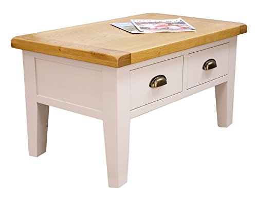 Arklow Painted Oak Dovetail Grey Coffee Table With Drawers