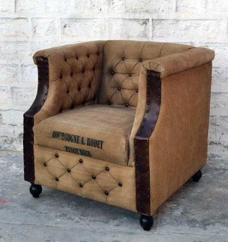 armchair sillon industrial style vintage canvas and leather Armchair Sillon Industrial Style Vintage Canvas and Leather Armchair Sillon Industrial Style Vintage Canvas and Leather 0