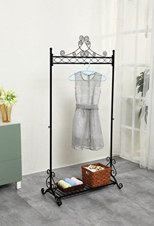 Chic Hanging Clothes Rail Metal Garment Coat Clothing Rack Stand With Shoes Storage Shelf Black Chic Hanging Clothes Rail Metal Garment Coat Clothing Rack Stand With Shoes Storage Shelf Black 0 300x440