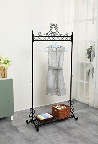 Chic Hanging Clothes Rail Metal Garment Coat Clothing Rack Stand With Shoes Storage Shelf Black Chic Hanging Clothes Rail Metal Garment Coat Clothing Rack Stand With Shoes Storage Shelf Black 0