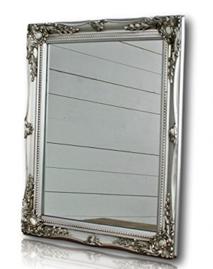 Elbmöbel silver shabby chic antique style mirror with fine ornaments large 37x47cm Elbmbel silver shabby chic antique style mirror with fine ornaments large 37x47cm 0 300x378