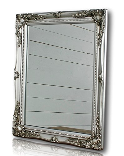 Elbmöbel silver shabby chic antique style mirror with fine ornaments large 37x47cm Elbmbel silver shabby chic antique style mirror with fine ornaments large 37x47cm 0