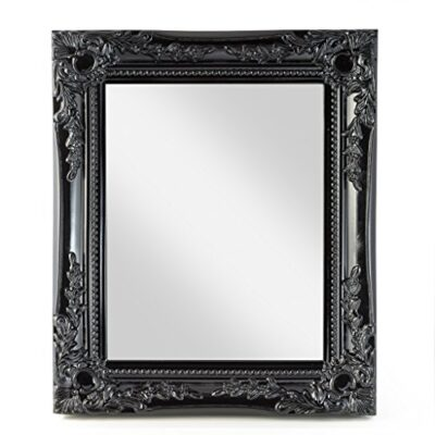 elbmoebel wall mirror shabby chic antique style ornate black silver white - large 33x27x3 cm (black) elbmoebel Wall mirror shabby chic antique style ornate black silver white – large 33x27x3 cm (Black) Elbmbel wall mirror black shabby chic antique style ornate 33x27x3cm large 0 400x400