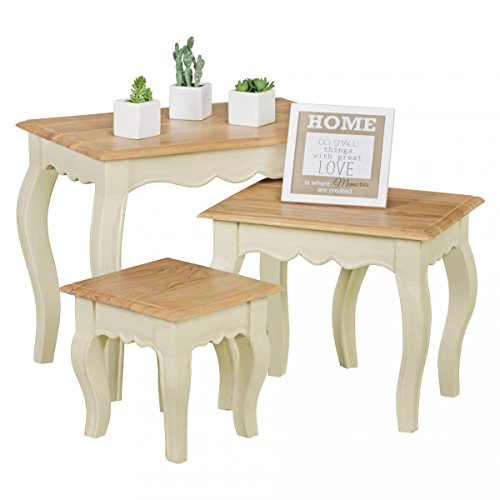FineBuy Nesting Tables 3-piece Hardwood Acacia / Mango