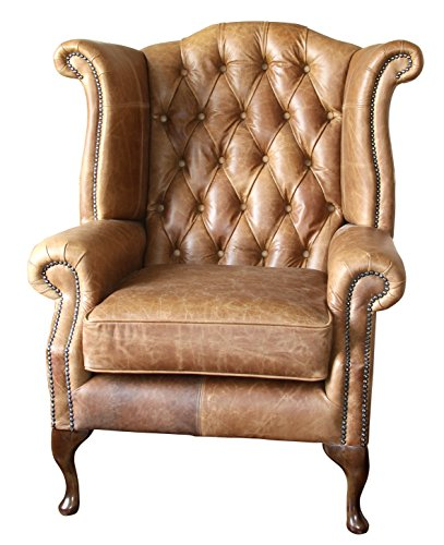handmade chesterfield queen anne high back wing chair in vintage tan leather Handmade Chesterfield Queen Anne High Back Wing Chair in Vintage Tan Leather Handmade Chesterfield Queen Anne High Back Wing Chair in Vintage Tan Leather 0