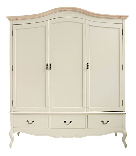 juliette shabby chic champagne triple wardrobe Juliette Shabby Chic Champagne Triple Wardrobe Juliette Shabby Chic Champagne Triple Wardrobe Stunning large 3 door cream wardrobe with hanging railshelves and drawers 0