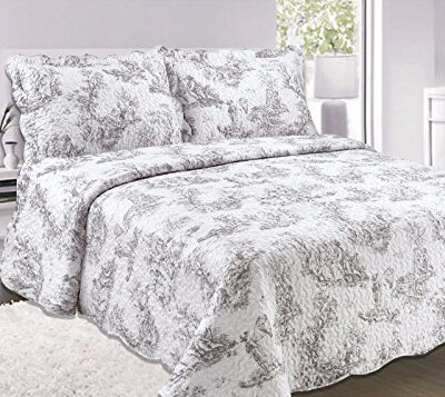 ashley mills quilted vintage shabby chic toille bedspread/comforter throw (king size) Ashley Mills Quilted Vintage Shabby Chic Toille Bedspread/Comforter Throw (King Size) Quilted Vintage Shabby Chic Toille Bedspread Comforter Throw King Size Grey 0 400x357