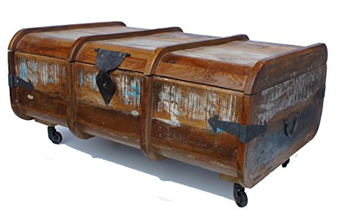 Shabby Chic Old Painted Teak Marine Chest Coffee Table On Wheels