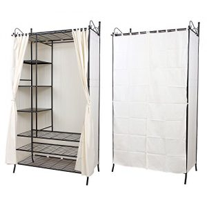 Songmics wardrobe clothes cupboard hanging rail storage shelves with zoom sisterspd