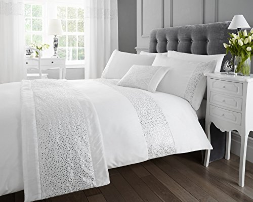white sequined double quilt duvet cover and 2 x pillowcase bedding bed set modern luxury glamour White Sequined Double Quilt Duvet Cover and 2 x Pillowcase Bedding Bed Set Modern Luxury Glamour White Sequined Double Quilt Duvet Cover and 2 x Pillowcase Bedding Bed Set Modern Luxury Glamour 0