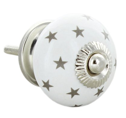 Grey Stars Round Ceramic Door Knob Vintage Shabby Chic