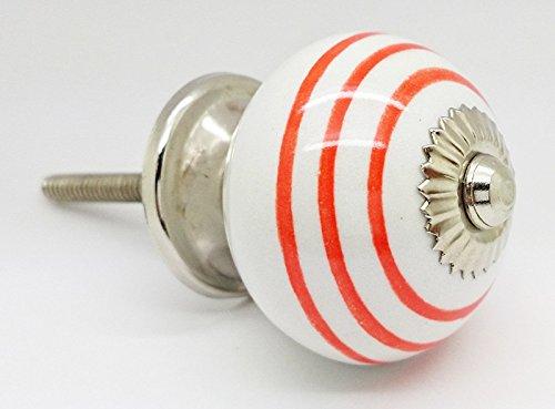 Orange Colour Striped On White Round Ceramic Door Knob Vintage Shabby Chic  Cupboard Drawer Pull Handle