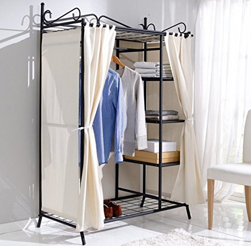 Shabby Chic Wardrobe Black Metal Hanging Rail Vintage Clothes Cabinet Antique French Style Bedroom Storage Unit Large Stunning Boudoir Cupboard Shelves Shoe Tier Shelf Modern Country Beige Cream Cotton Polyester Cover Door Free