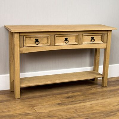 corona console table 3 drawer with 1 shelf Home Corona Console Table Drawer With Shelf Waxed Pine Corona Console Table 3 Drawer With 1 Shelf 0 400x400