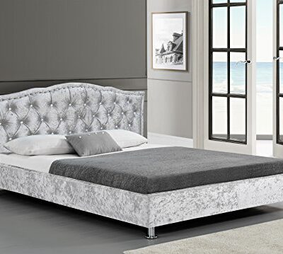 cherry tree furniture amari crushed velvet bed frame with tufted diamante headboard (silver, 4ft6 double) Cherry Tree Furniture AMARI Crushed Velvet Bed Frame with Tufted Diamante Headboard (Silver, 4FT6 Double) Cherry Tree Furniture AMARI Crushed Velvet Bed Frame with Tufted Diamante Headboard 0 400x359