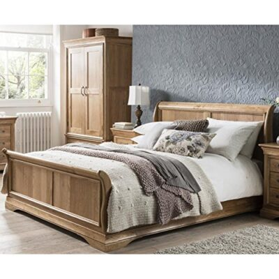 french solid oak 5' king size sleigh bed French Solid Oak 5′ King Size Sleigh Bed French Solid Oak 5 King Size Sleigh Bed 0 400x400
