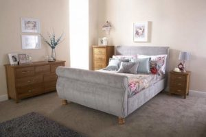 Home Source 4ft6 Upholstered Fabric Modern French Sleigh Bedstead Bed Frame Home Source 4ft6 Upholstered Fabric Modern French Sleigh Bedstead Bed Frame 0 300x200