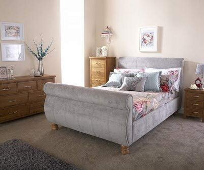 home source - upholstered grey fabric modern french sleigh bedstead bed frame - 4ft6 double Home Source – Upholstered Grey Fabric Modern French Sleigh Bedstead Bed Frame – 4ft6 Double Home Source 4ft6 Upholstered Fabric Modern French Sleigh Bedstead Bed Frame 0 400x333