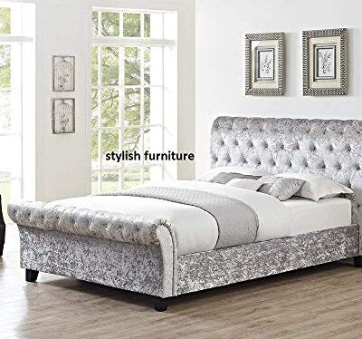 luxury chesterfield sleigh bed grey crushed velvet fabric bed double 4ft6 by stylish furniture Luxury Chesterfield Sleigh Bed Grey Crushed Velvet Fabric Bed Double 4Ft6 By Stylish Furniture Luxury Chesterfield Sleigh Bed Grey Crushed Velvet Fabric Bed Double 4Ft6 By Stylish Furniture 0 400x374