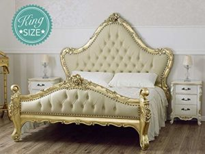 Simone Guarracino Double bed Bryanna French Baroque style King Size goldleaf faux leather champagne crystal Sw knobs Simone Guarracino Double bed Bryanna French Baroque style King Size goldleaf faux leather champagne crystal Sw knobs 0 300x225