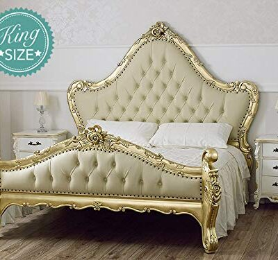 king size bed frame bryanna french baroque style gold leaf faux leather champagne buttons crystal sw King Size Bed Frame Bryanna French Baroque Style Gold Leaf Faux Leather Champagne Buttons Crystal Sw Simone Guarracino Double bed Bryanna French Baroque style King Size goldleaf faux leather champagne crystal Sw knobs 0 400x375