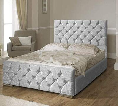 beautiful atn upholstered diamante bed frame in crushed velvet fabric in size 3ft,4ft6 & 5ft (5ft king size, silver) Beautiful ATN Upholstered Diamante Bed Frame in Crushed Velvet Fabric in Size 3ft,4ft6 & 5ft (5ft King Size, Silver) Beautiful ATN Upholstered Diamante Bed Frame in Crushed Velvet Fabric in Size 3ft4ft6 5ft 5ft King Size Silver 0 400x357