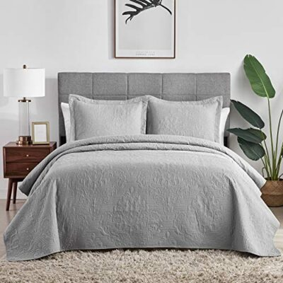 hansleep grey quilted bedspread throws double bed, 3pcs hypoallergenic microfiber coverlets set with 2 pillowcases, 220 x 240cm Hansleep Grey Quilted Bedspread Throws Double Bed, 3Pcs Hypoallergenic Microfiber Coverlets Set with 2 Pillowcases, 220 x 240cm Hansleep Grey Quilted Bedspread Throws Double Bed 3Pcs Hypoallergenic Microfiber Coverlets Set with 2 Pillowcases 220 x 240cm 0 400x400