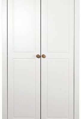 steens wide wardrobe with 2-doors and pine handles, white Steens Wide Wardrobe with 2-Doors and Pine Handles, White Steens Wide Wardrobe with 2 Doors and Pine Handles White 0 271x400