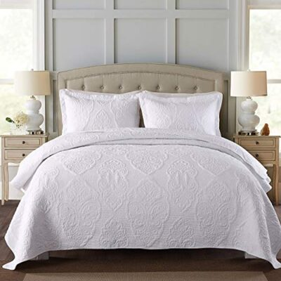 unimall 3-piece king size bedspreads white 100% cotton embroidered flower lightweight patchwork quilted bedspread double throws coverlets comforter with 2 pillowcase,250 x 270 cm Unimall 3-Piece King Size Bedspreads White 100% Cotton Embroidered Flower Lightweight Patchwork Quilted Bedspread Double Throws Coverlets Comforter with 2 Pillowcase,250 x 270 cm Unimall 3 Piece King Size Bedspreads White 100 Cotton Embroidered Flower Lightweight Patchwork Quilted Bedspread Double Throws Coverlets Comforter with 2 Pillowcase250 x 270 cm 0 400x400